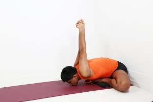 getting deeper in to baddha konasana with the wall series