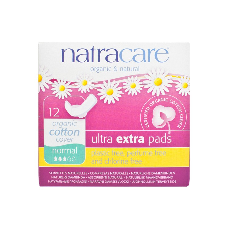 NATRACARE - ULTRA EXTRA PADS WITH WINGS-NORMAL 22CM - 12'S
