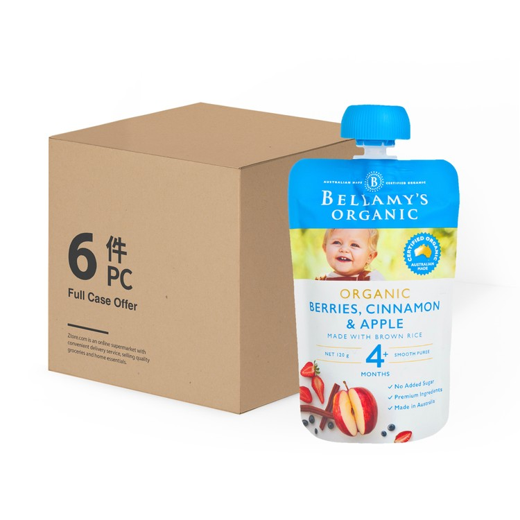 BELLAMY'S ORGANIC - ORGANIC BERRIES, CINNAMON & APPLE-CASE OFFER - 120GX6